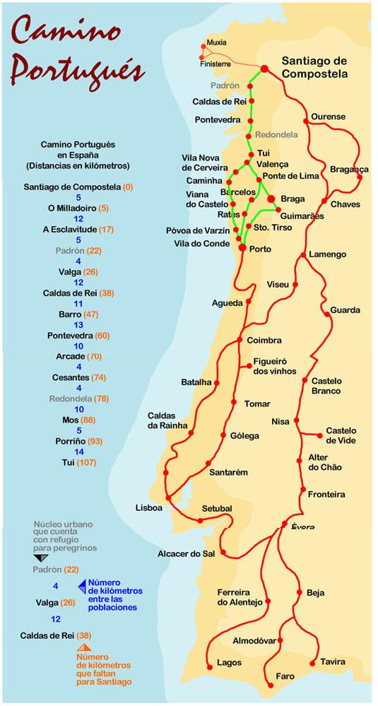 mapa caminho de santiago portugues Caminho Português de Santiago: Informações / Portuguese Way of St  mapa caminho de santiago portugues